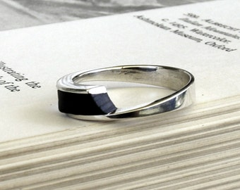 Silver, Ebony Ring, Silver and wood ,unique, Modern ring, sterling silver and Black Ebony, wood