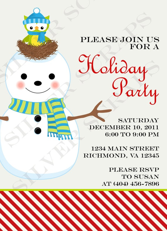 Items similar to Large Snowman Christmas Party Invitation ...