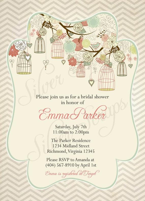 Birdcages, Birds, Chevron - Custom Bridal, Baby Shower, or Bridesmaids Luncheon Invitation -Girl, Boy, Grey, Pink, Teal, Green - 5 Designs