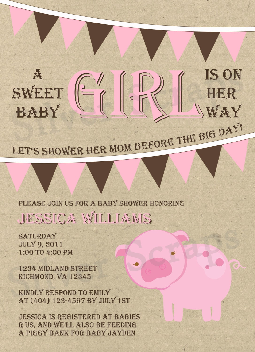 bunting and piggy custom baby shower invitation by