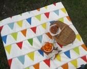 Picnic Blanket- Cool Mom Picks Recommended- Rainbow Flag Bunting- Kids, Children, Family
