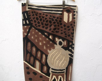 Baby Blanket - Rare Midcentury Modern Tribal MARIMEKKO - Black Brown Morocco City with Organic Flannel