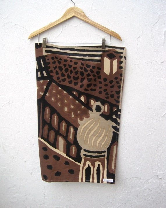 Baby Blanket - Rare Midcentury Modern Tribal MARIMEKKO - Black Brown Gold Morocco City with Organic Flannel for Kids (Ready to Ship)