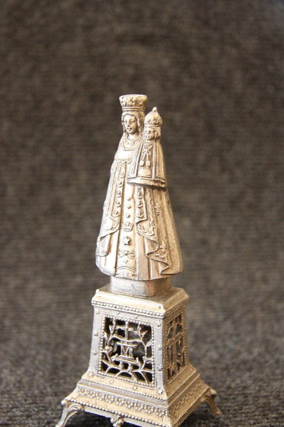 Antique Madonna with child sculpture