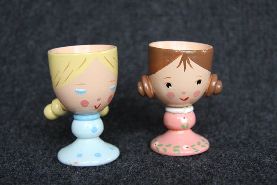 Vintage wooden doll egg cups , girls with braids
