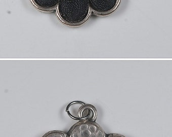 Vintage 60's Silver Tone Smiley Face Daisy Patch Charm Pendant