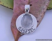 Small Silver Round Fingerprint Pendant/Charm