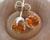 Madeira Citrine Studs Posts Earrings - Sterling Silver - November Birthstone or Custom Stone