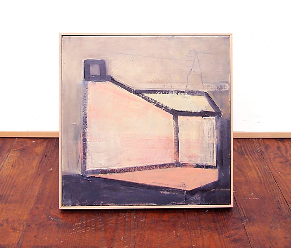 Original Painting, Modern House, Contemporary Art, Abstract Pink, 16x16, FREE US SHIPPING
