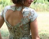 For Amy- heart cut out dress- handmade dress in woodland blue bird