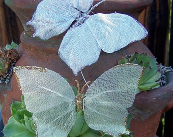 Vintage Craft Supplies Butterfly Wings Glittered Wired Ethereal Butterflies Set of 9 Wedding Decor Gold ONLY Silver has Sold Out