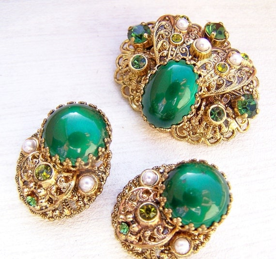 Reserved for Lee Yan Vintage Jewelry , W. Germany Estate Jewelry Enamel Emerald Green Earring and Matching Brooch