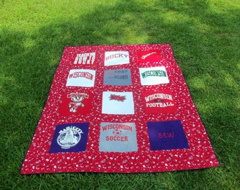 Twin Size Memory Quilt with 12 of your own Tshirts