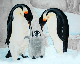 Penguin Family Children's Art print