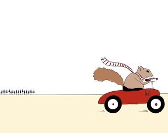 Mr Squirrel on the Go print. Squirrel driving car illustration