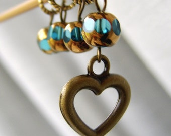 Sale - What Your Heart Contains - Four Handmade Stitch Markers - Fits Up To 5.0 mm (8 US) - Limited Edition