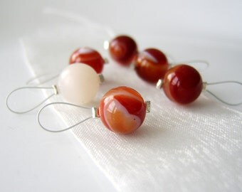 LAST SET - Mingled Cream and Amber - Six Snag Free Stitch Markers - Fits Up To 5.5 mm (9 US) - Limited Edition