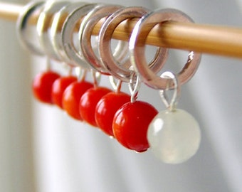 A Coral Lip Admires - Seven Handmade Stitch Markers - Fits Up To 5.0 mm (8 US) - Limited Edition