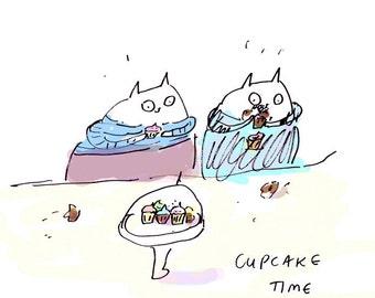 Cupcake Time- Cat Print- Ink Drawing- Cute Cat Art