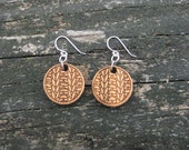 Knitting Earrings - Bamboo and Sterling Silver (small and large)
