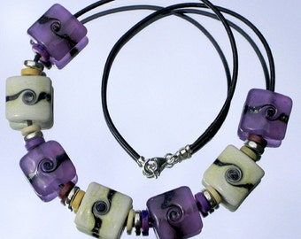 Lilac and Ivory Lampwork Glass Bead Necklace SRA