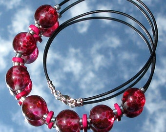 Summer Pudding Lampwork Glass Bead Necklace SRA