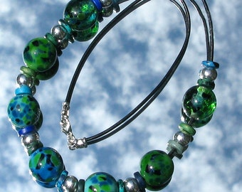 Water Meadows Lampwork Glass Bead Necklace SRA