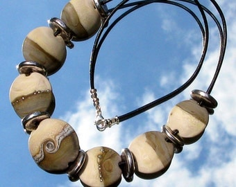 Sandstone and Silver Lampwork Glass Bead Necklace SRA