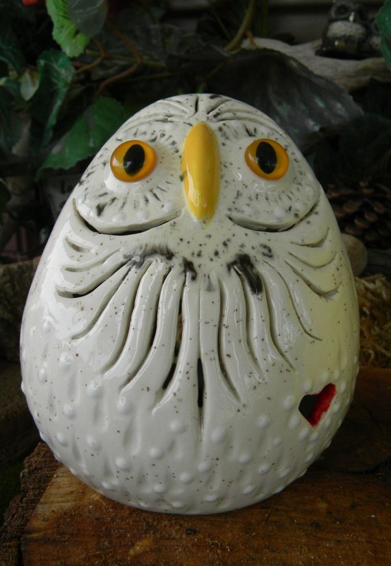 Vintage White Glazed INCA Owl with swirls Night Light Lamp - Reserved for Dawn