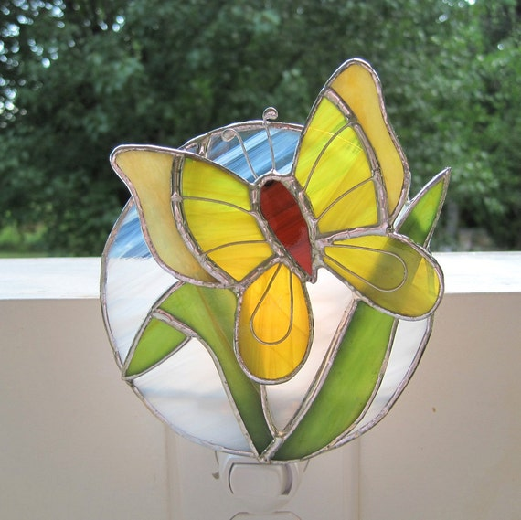 Lovely in Lemon Stained Glass Butterfly Night Light