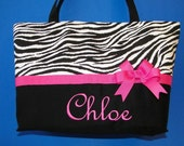 Personalized zebra stripe diaper bag with hot pink accent....  The Chloe Bag .....   Customize with a name or monogram