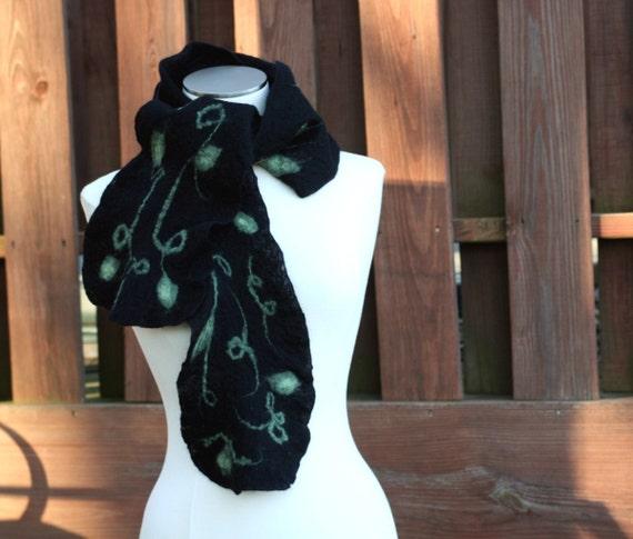 Black Ruffle Scarf with Vines and Leaves - Handmade Nuno Felt Scarf 100% Soft Merino Wool and Silk Fashion Accessory - CUSTOM ORDER