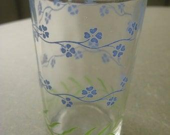 Vintage Juice Glass, Like Swanky Swig Glass, Small Drinking Glass, Floral Glass, Small Juice Glass, Painted Blue Flowers, Vintage Glassware