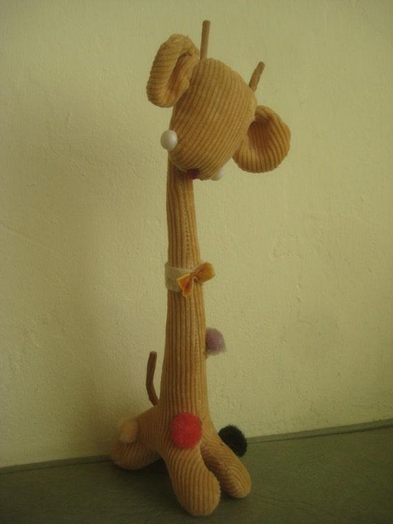 Vintage Giraffe, Giraffe Toy, Corduroy Giraffe Animal Figure