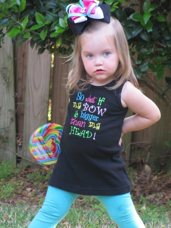 Custom girls kids toddler monogrammed Tank top shirt or onesie My Bow is Bigger than my Head