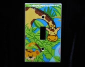 Giraffe and Monkey Print Light Switch Plate Cover Single toggle (STANDARD SIZE)