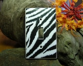 Zebra Stripe Light Switch Plate Cove or Outlet   Animal Print (STANDARD SIZE)