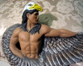 Hand Painted Ceramic Native American Eagle Dancer Statue