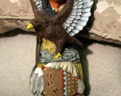 Hand Painted Ceramic Native American Eagle Totem Statue
