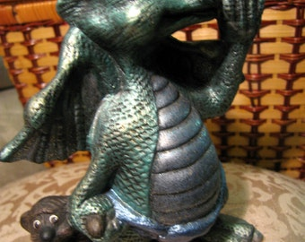 Hand Painted Ceramic Baby Dragon Statue