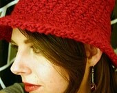 Convertible Cloche Hat - Candy Apple Red - Sale 30% off