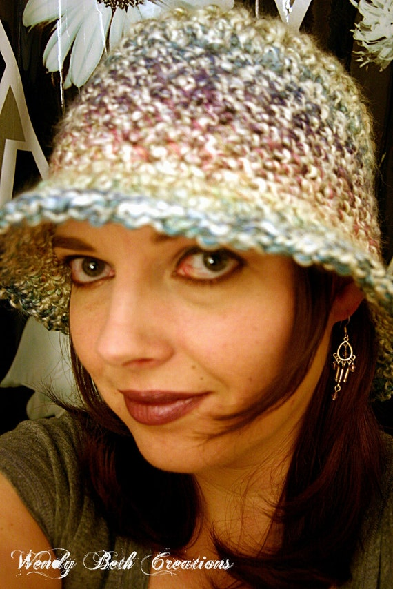 Cloche Hat, Crochet, Multiple Ways To Wear, Pastel, Rainbow, Heather - Tudor - Overstock Sale 30% Off