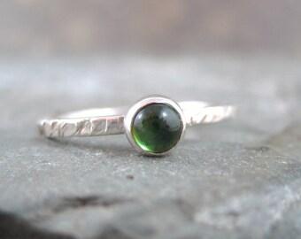 Green Tourmaline Sterling Silver Stacking Ring  -  Artisan Jewellery - Green Gemstone Ring