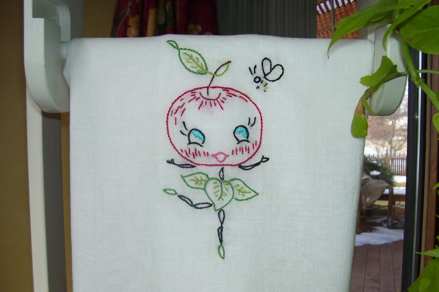 Hand Embroidered Flour Sack Dish Towel using a Vintage