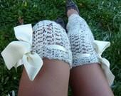Thigh High Leg Warmers - Over the Knee Crochet Leggings by Mademoiselle Mermaid