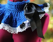 Royal Blue Neck Warmer - Black Ties - White Lace