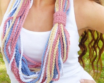 Pastel Rainbow Crocheted Necklace - Cotton Infinity Scarf
