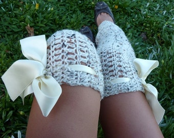 Thigh High Leg Warmers - Over the Knee Crochet Leggings by Mademoiselle Mermaid