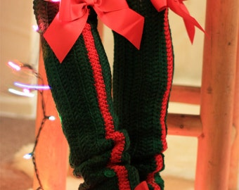 Holiday Fashion Leg Warmers - Thigh High Leggings with Bows