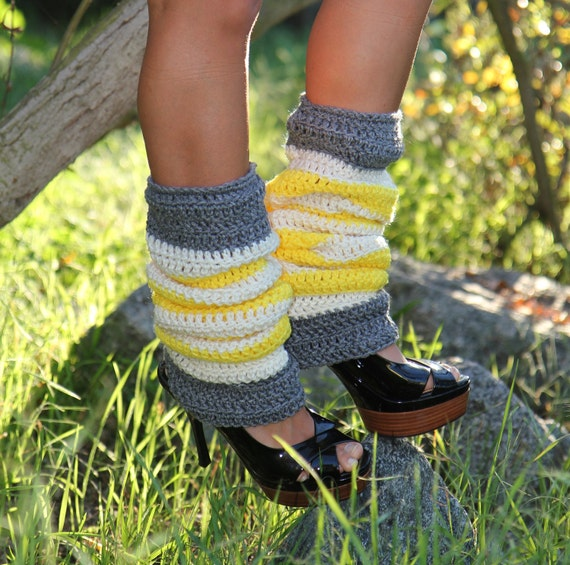 Leg Warmers in Bananas and Cream Stripes - Yellow and White Striped Crochet Legwarmers
